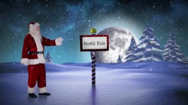 Santa standing in the north pole — Vidéo