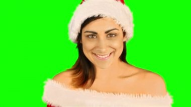 Sexy santa girl sending an air kiss to camera — Vídeo Stock