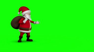 Cartoon Santa walking on green background — Stock Video