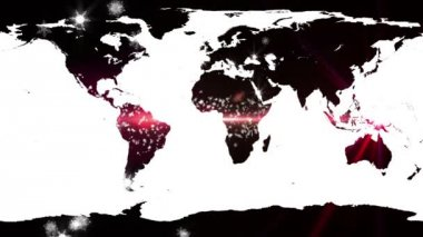 World map against shimmering pink background — Vídeo Stock