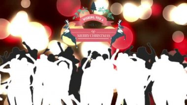 Merry christmas graphic with dancing people — Stock Video