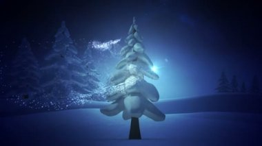 Magic light swirling around snowy christmas tree — Stockvideo