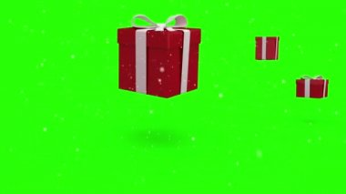 Christmas presents bouncing on green background — Stock Video