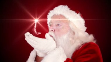 Santa making a magical christmas gift appear — Vídeo de stock