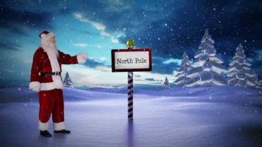 Santa standing at the north pole — Stockvideo