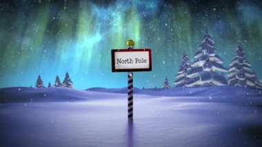 Santa delivering presents at the north pole — Stockvideo