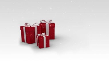 Appearing red christmas gifts on white background — Stock Video