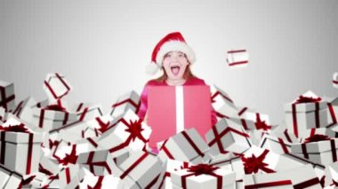 Festive little girl with falling christmas presents — Stock Video