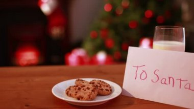 Cookies and milk left out for santa claus — Stock Video