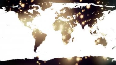 World map against yellow shimmering background — Vídeo Stock