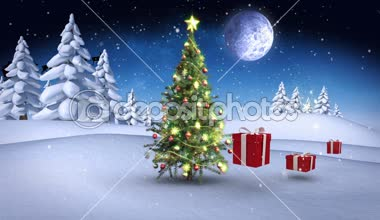 Christmas presents bouncing around tree in winter setting — Wideo stockowe