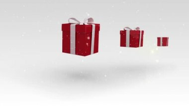 Christmas presents bouncing on white background — Stock Video
