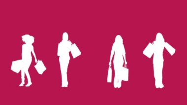 Silhouettes of women with her shopping on pink background — Stock Video