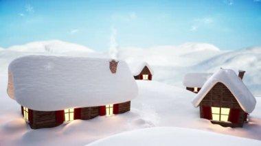 Snow falling on cute village — Stock Video
