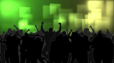 Dancing crowd with glowing squares of green light moving — Stock Video