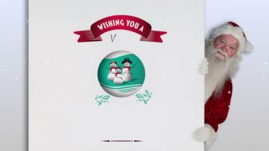 Santa peeking around a christmas card — Stock Video
