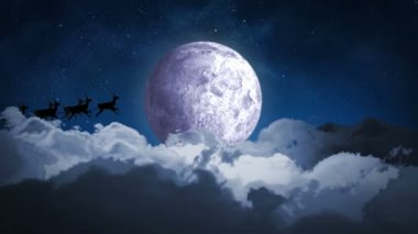 Santa flying over night sky — Stock Video