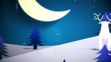 Cut out fir tree forest and flying santa — Vidéo