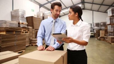 Warehouse managers looking at tablet pc — Vídeo Stock
