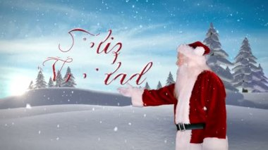 Santa presenting christmas message against snowy fir forest — Stock Video