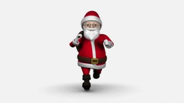 Cartoon Santa running on white background — Stock Video