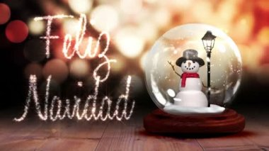 Snowman inside snow globe with christmas greeting in spanish — Stock Video