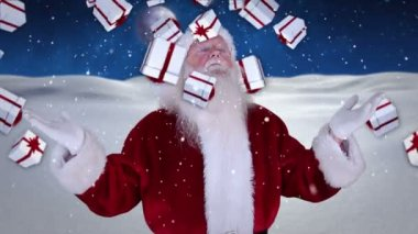 Santa raising his hands with falling christmas presents — Stock Video