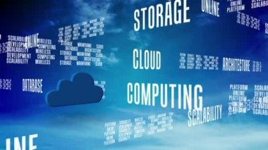 Cloud computing graphic against blue sky with text — Stock Video