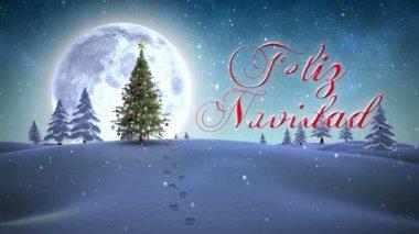 Feliz navidad message appearing in snowy landscape — Stock Video