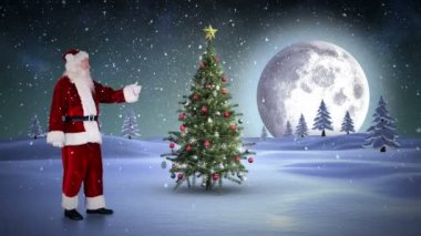 Santa standing in the north pole showing christmas tree — Vidéo
