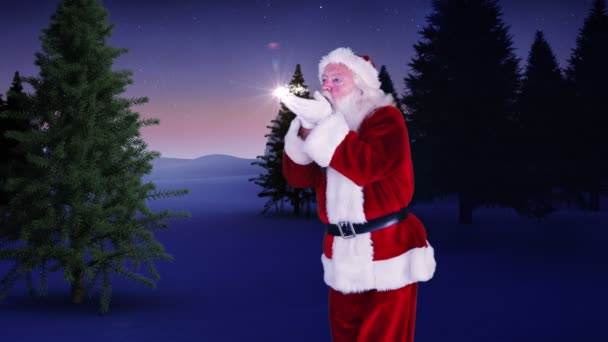 Santa making a magical christmas tree appear — Vidéo