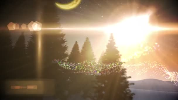 Magic light swirling around christmas tree in village — Vidéo