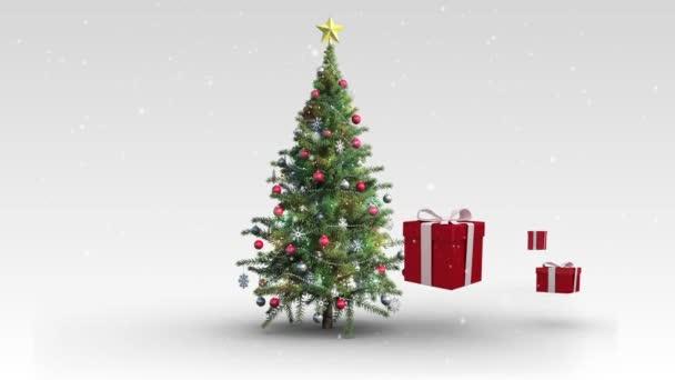 Regalos de Navidad que aparecen alrededor de árbol — Vídeo de stock