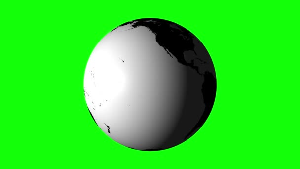White earth spinning on green background — Vídeo de stock
