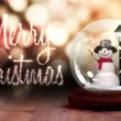 Snowman inside snow globe with christmas greeting — Stock Video #61020161