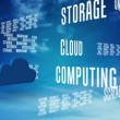Cloud computing words scrolling on blue sky — Wideo stockowe #61020443
