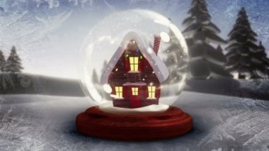 Cute christmas house inside snow globe — Vidéo