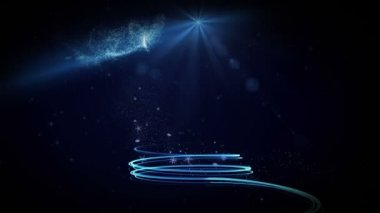 Blue light forming christmas tree design with greeting — Stock Video