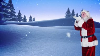 Santa making a magical christmas message appear — Vídeo de stock