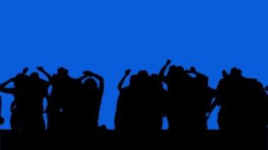 Dancing crowd on blue chroma key screen — Stock Video