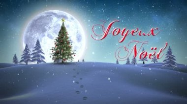 Joyeux noel message appearing in snowy landscape — Stock Video