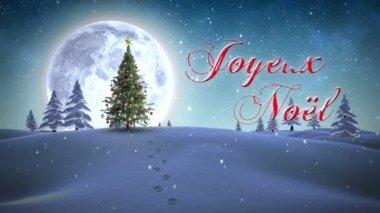 Joyeux noel message appearing in snowy landscape — Stock Video