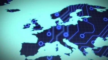 Circuit board europe on blue background — Vídeo Stock