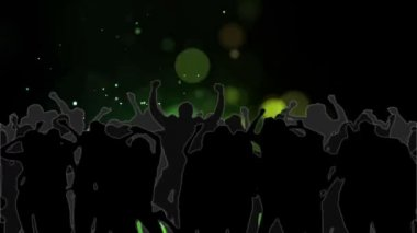 Dancing crowd with glowing circles of green light moving — Stock Video