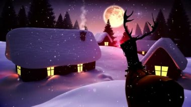 Santa flying over cute snowy village as rudolph watches — Stock Video
