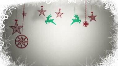 Hanging retro christmas decorations and message — 图库视频影像
