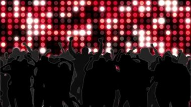 Nightclub with red mosaic wall of light and dancing crowd — Stock Video