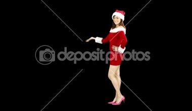 Pretty girl presenting in santa outfit — Stock Video