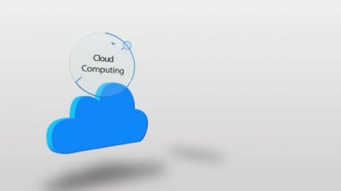 Blue cloud computing graphic on white — Stock Video