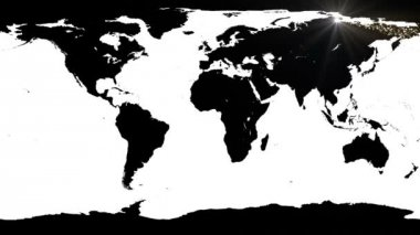 World map against shimmering star background — Vídeo Stock